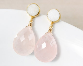 50% OFF SALE - Druzy and Rose Quartz Earrings – Gold Plated or Silver Filled