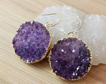 ON SALE Purple Druzy Crystal Earrings - Multi-Colour Druzy Earrings - Choose Your Pair