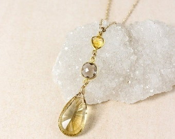 25% OFF Citrine and Smokey Quartz Tiered Necklace – 14k Gold Filled Chain