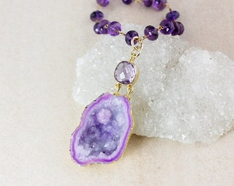 50% OFF Purple Amethyst and Druzy Geode Necklace - Choose Your Druzy