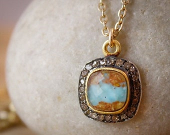 40 OFF SALE Gold Natural Turquoise Doublet Necklace - 14K Gf - Pave Diamonds, Mother's Day Gifts