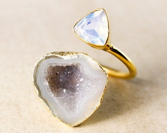 White Opalite and Grey Druzy Ring – Dual Ring – Gold Plated
