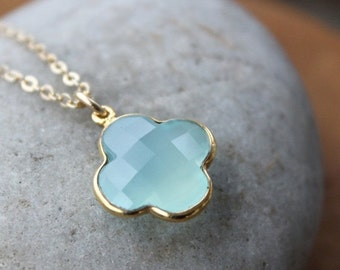 40 OFF SALE Gold Blue Chalcedony Clover Necklace - 14Kt Gold Fill - Charm Necklace