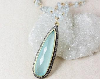 40 OFF SALE Aqua Chalcedony Teardrop Necklace – Blue Aquamarine Chain