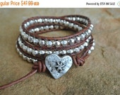 SALE Heart Silver Pewter Beaded Natural Leather Wrap Bracelet
