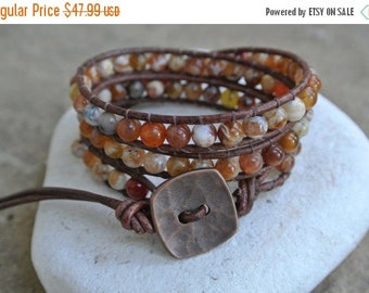 30% OFF SALE Sunrise Jasper  Beaded Leather Wrap Bracelet