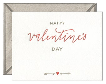 Happy Valentine's Day letterpress card - single