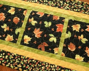 Fall Table Runner with Autumn Leaves on Black Background, Quilted Fall Table Runner, Gold Orange Green Black, Quilted Table Mat