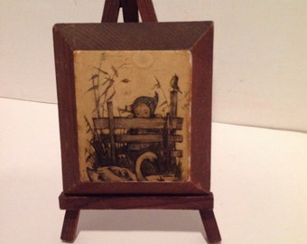 Hummel Plaque on Wooden Easel