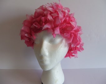 Vintage Ladies Hat Pink Hat Nibud design Made in Japan