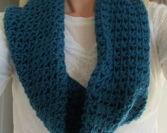 Crocheted Teal Cowl, Infinity Scarf, Women's Accessories, Circular Scarf, Neck Warmer