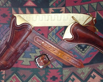 Custom Made Twin Holster and Gunbelt Set