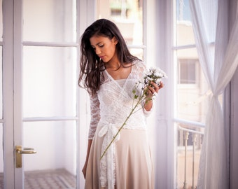 Lace wedding dress with sleeves, bohemian wedding dress, white lace dress, champagne bridal gown, lace gown, marriage, lace dress, weddings