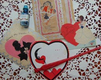Vintage 1940s - 50s Victorian Valentine Card lot 4 Cards Paper Ephemera