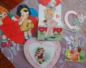 Vintage 1920s - 50s Cute Children Kewpie Victorian Valentine Card lot 5 Cards Paper Ephemera