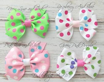 Girl's Hair Bows, Polka Dot Hair Bows Back To School Bows, Hair Bows, Toddler Hair Bows, Hair Bows For Girls, Bows With Polka Dots