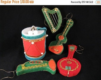 ON SALE musical ornaments 50s flocked musical instruments christmas ornaments guitar + harp + trumpet + drum