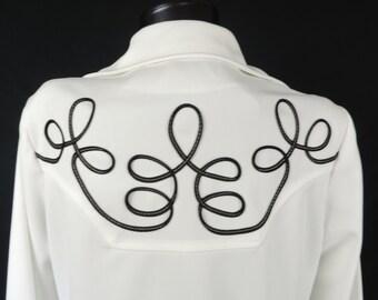 vintage western shirt 60s white black piping western swirl rodeo button down women's XL