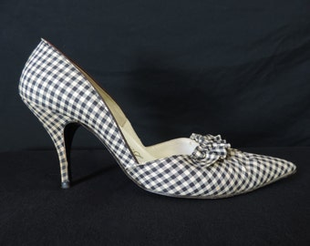 gingham ruffle pin-up high heels 50s delmanette black checker stiletto pumps shoes 7 1/2 N