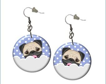 Pug Earrings Adorable Pug Earrings Periwinkle White Gray Earrings