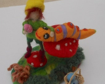Spring time Easter egg Pixie meets caterpillar on a mushroom play scape play mat play time waldorf needle felted nature table