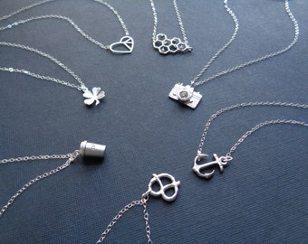 Minimalist Silver Necklace, Choose Your Pendant Anchor Clover Camera Heart Honeycomb Pretzel Coffee Cup