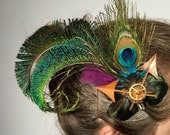Beautiful Peacock SteamPunk feather clock hands hair fascinator,weddings,dress up,grad,burlesque,dance,