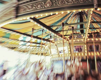 "Carousel Photography - ""Faust Park Carousel"" vintage retro photograph turquoise yellow affordable nursery print fine art print wall art"
