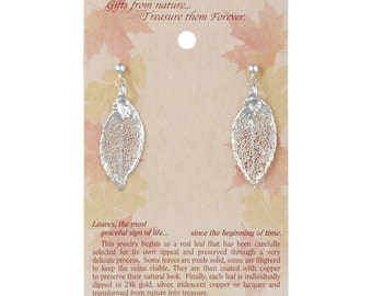 Real Rose Leaf Dipped In Silver Post Dangle Earrings - Real Dipped Leaves - On Card