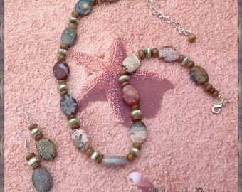 Ocean Jasper, Shell and Pearl necklace with matching earrings