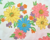 Vintage 70s Cannon Monticello Flower Power Double Flat Sheet
