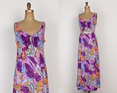 1970s Maxi Dress - Vintage 70s Purple Floral Keyhole Dress Long Length - m / l