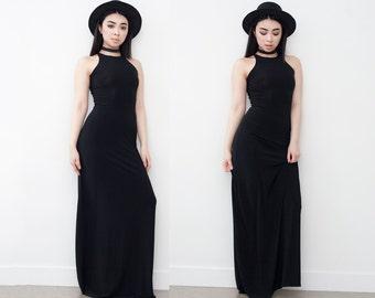 Black Sleek Sleeveless A-Line Maxi Dress XS S M L XL