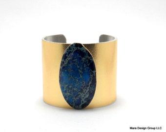 "leather cuff bracelet  - gold metallic leather with jasper - 2"" wide"