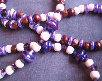 Suglass and Eyeglass Lanyard, Purple Lanyard, Wooden Beads, Purple Crystals, 26 inch Lanyard, White Bone Beads