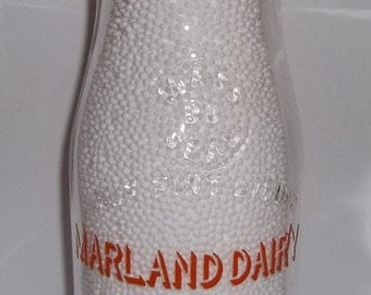 Marland Dairy Andover MA Massachusetts Orange Pyro Half Pint Milk Bottle Health Guard Products Soldier Picture