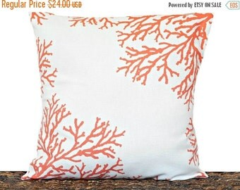 Christmas in July Sale Orange Sea Coral Pillow Pumpkin White Coastal Beach Summer Repurposed Decorative 16x16