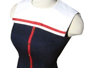 Hey Sailor! Vintage 50's Wiggle Dress Red White Blue S XS 34-26-34 Rockabilly Linen