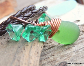 FOR HER - Pendant with genuine green beach glass from Amalfi Coast and eco leather