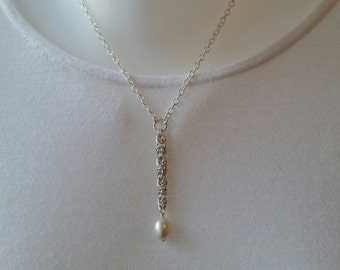 Sterling silver necklace, pearl on byzantine drop, womens gift, artisan jewelry, statement, unique