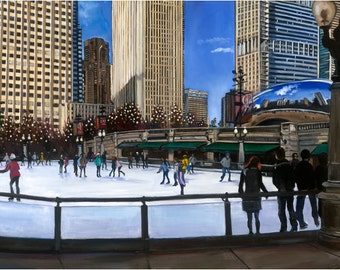 Chicago Millennium Park Oil Painting -18x12in Giclee Print