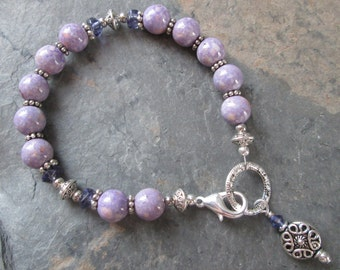 Violet ~ Purple River Stone & Crystal charm bracelet