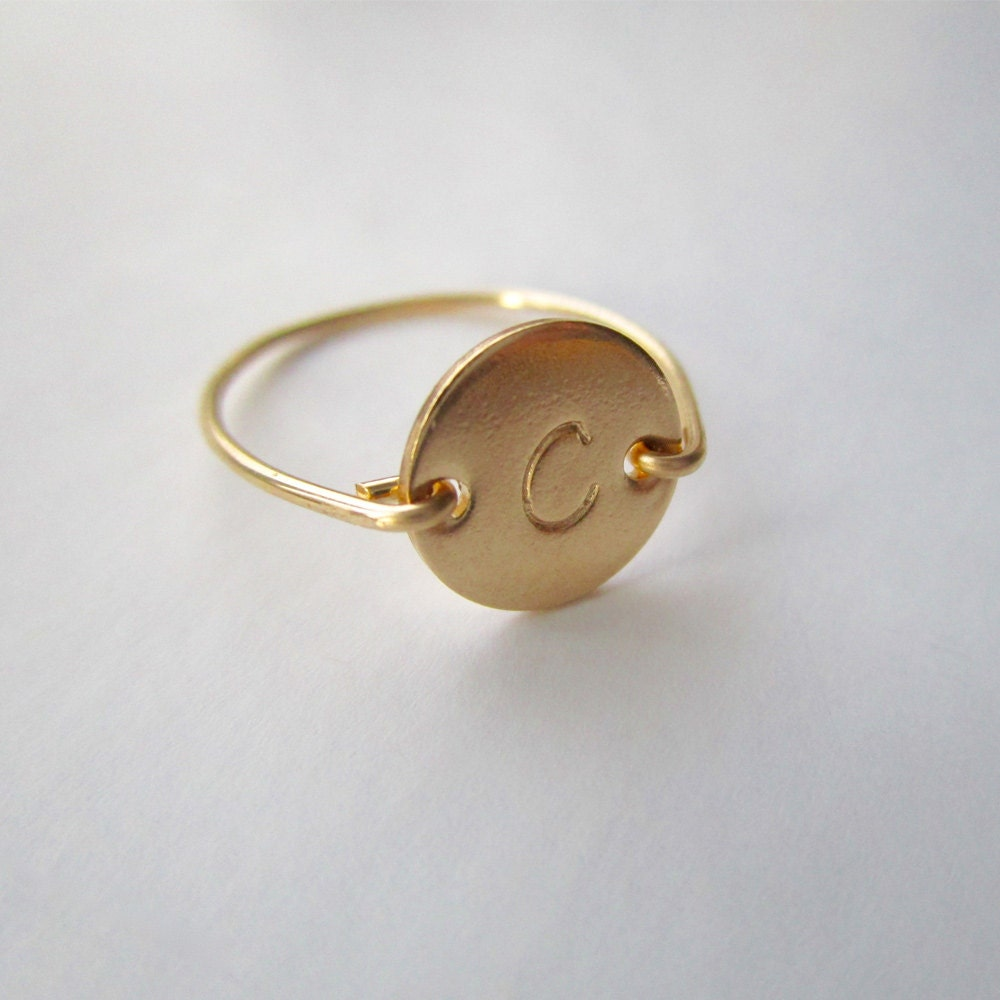 gold initial ring personalized initial ring gold disc ring