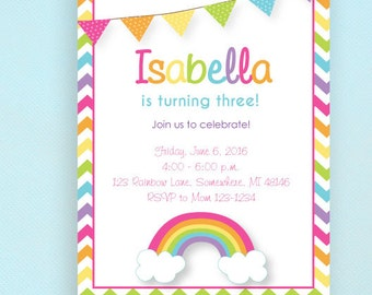 Rainbow Birthday Invitations, Colorful, Chevron, PRINTED Invitations and comes with envelopes