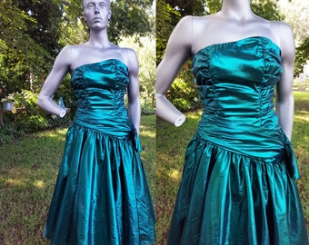 35% OFF 80s Prom Dress / Vintage Bridesmaid Dress / Metallic Dress / 80s Dress / Vintage Dress / Green Prom Dress Size 2