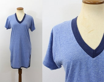 1980s Sleep Shirt Mini Ringer Nightgown Tee V Neck Night Heather Blue Vintage 80s Jersey Knit Dress Retro Slumber Party Sleepover Small S XS