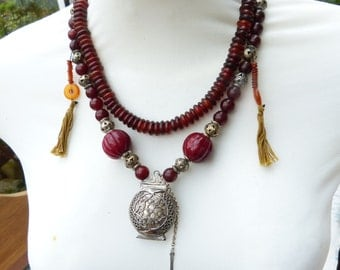 Antique Chinese Opium Box - Red Stone and Horn Beads Necklace