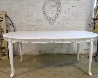 RESERVEJoannaDining Table Painted Cottage Chic Shabby White French Dining Table TBL198