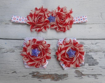 4th July Baby Barefoot Sandals Stars stripes Baby Sandals Shabby Rose Sandals Star rhinestones  Photo Prop Infant Sandals Newborn toddler