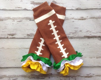 Football Ribbon Ruffle  Leg Warmers baby toddler girls Packers Fan